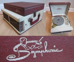 VINTAGE SYMPHONIC 1504 RECORD PLAYER suitcase phonograph 1950's red RARE... - $56.09