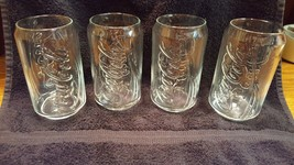 SET 4 Coca Cola Can Shaped Glass Glassware Beverage Drinking 12 Ounce CLEAR - $14.85