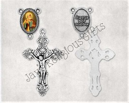 Gold Bronze or Silver - Crucifix and Saint Peter Centerpiece Set for St ... - $5.95