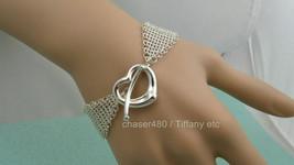Tiffany & Co Peretti Mesh Open Heart Toggle Bracelet Sterling Silver-Mint - $547.13