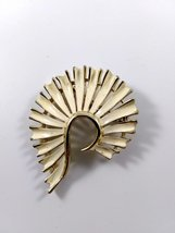 Vintage Gold Tone and White Enamel Curved Abstract Brooch - $22.00