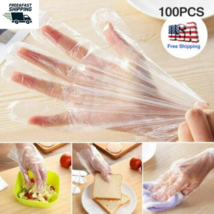 100PCS Clear Polythene Gloves Plastic Cook Disposable Food Safe Cleaning... - $4.94