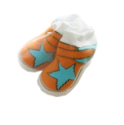Orange StarToddler Anti Slip Skid Shocks Baby Stockings Newborn Shoes 2 pack