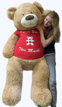 5 Foot Giant Teddy Bear Soft 60 Inch New, Wears T-shirt I LOVE YOU THIS ... - $97.11