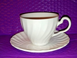 Johnson Brothers White Regency Swirl Cup and Saucer Set Made in England - $7.12