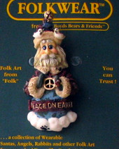 "Boyds FolkWear ""Peacenik"" Santa Lapel Pin- #26314 - New -1997 -Retired - $5.99"