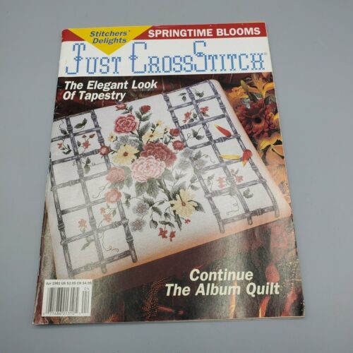 Just Cross Stitch Magazine April 1991 Patterns Springtime Blooms, Tapestry Look - $5.94