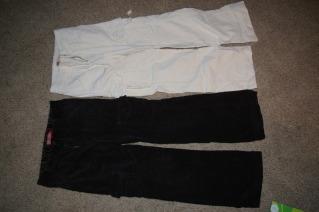 2 Pair Faded Glory Corduroy Black & Cream Girls Size 10