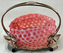 Antique Opalescent Unique Shape Cranberry Glass Bowl Silverplate Holder - $149.00