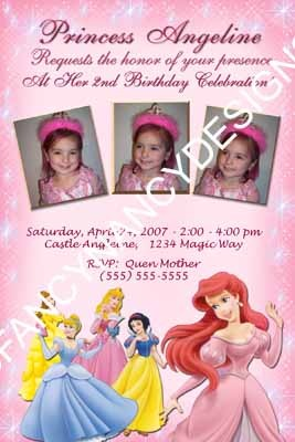 Primary image for Girls Disney Princess Castle Birthday Party Custom Photo Personalized Invitation