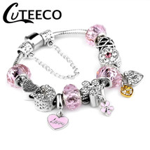 CUTEECO Fashion Pink Cute Charm Bracelets For Women Heart Beads Fit Orig... - $13.71