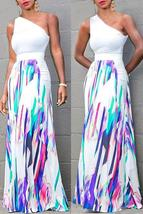 Trendy One Shoulder Printed Floor Length A Line Skirt - $28.42
