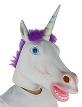 LarpGears Deluxe Novelty Halloween Costume Latex Unicorn Animal Mask Purple - $23.52