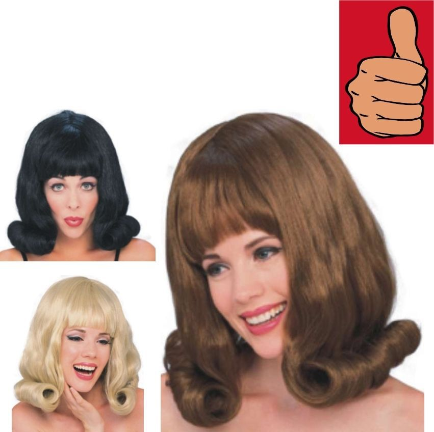 Wig - 60's Flip - Set of 3 - Black, Blonde & Brown - Adult - One-Size-Fits Most