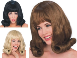 Wig - 60's Flip - Set of 3 - Black, Blonde & Brown - Adult - One-Size-Fits Most image 3