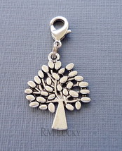 Dangle Tree of Life Clip On Charm lobster claw Fits Link Chain, locket C227 - $2.96