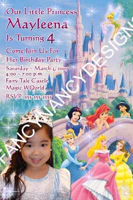 Primary image for Disney Princess Birthday Party Invitation Custom Photo Personalized  Many Design