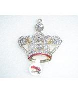 Crown Pin or Brooch Gold Tone Rhinestones Crystals Red Enamel Stunning - $9.00