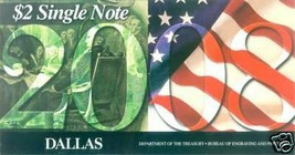 2003 A Uncirculated $2 Single Note - Dallas - #20082729 - $16.95