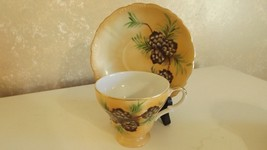 Vintage China Footed Tea Cup & Saucer Set Pinecone Design CL11-13 - $9.99