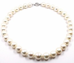 Necklace White Gold 18k, Zircon, Pearls Large 12 mm, White, Freshwater image 1
