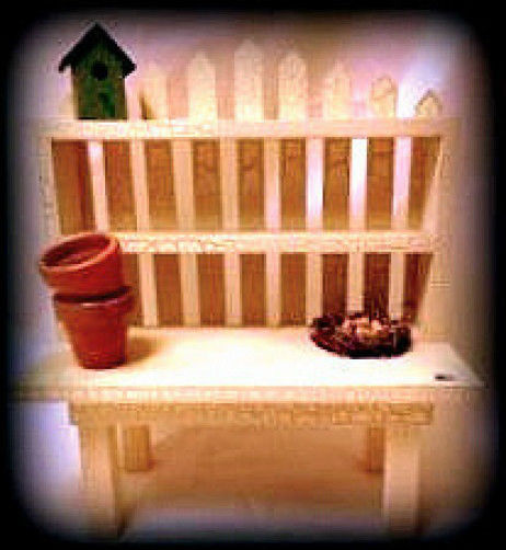 """Boyds Bears Collection """"Garden Planting Table""""  Wooden Accessory -New-Retired"""