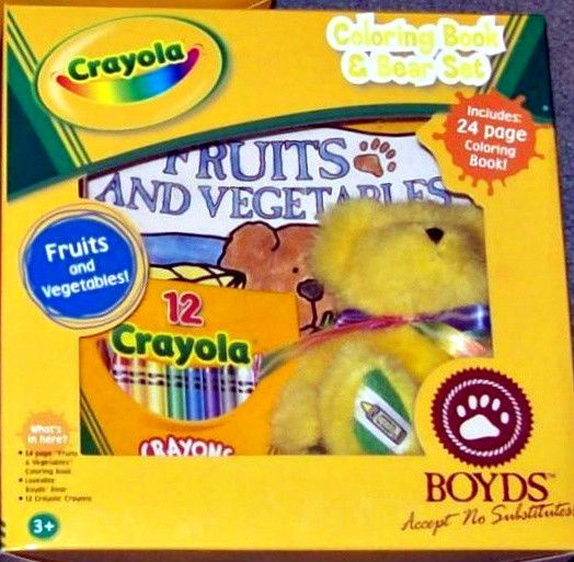"Boyds Bears ""Brighton B Yellow"" Licensed Crayola Bear Gift Set- #919105- NIB"