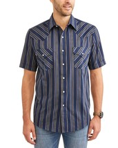 Plains Mens Short Sleeve Navy Blue Stripe Pearlized Snap Western Shirt S... - $15.83