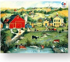 Ceaco Linda Stock Nelson Sweet Meadowland Jigsaw Puzzle with Poster Tower Box 55 - $13.85