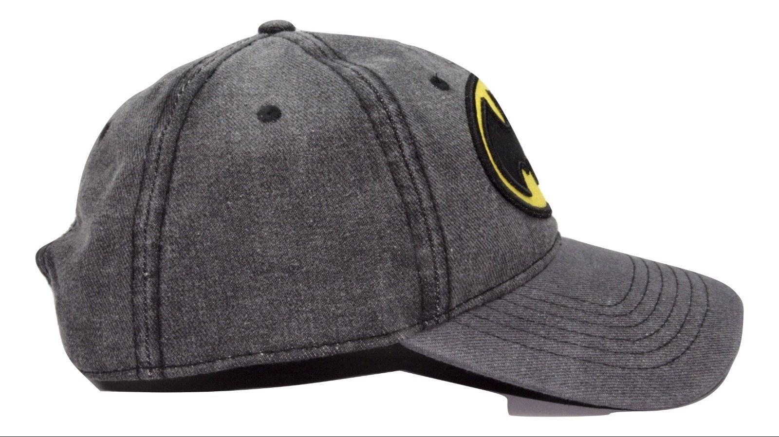 Batman Marvel Comics Patched Logo Adjustable Snap back Denim Dad Hat Style Cap