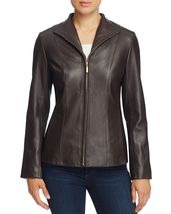 Vertically Padded Front Zip Women's Genuine Soft Lamb Skin Leather biker... - $149.00