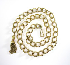 Chain Link Belt, Tassel, Heavy, Made in USA, Textured Gold Tone, 1970's,... - $24.00