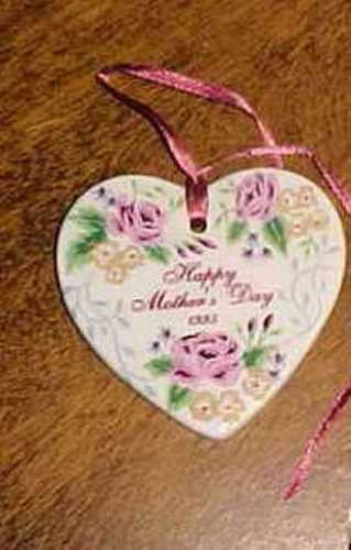 Longaberger Pottery 1995 Mothers Day Basket Tie On  Rose New In  Box  Authentic image 2