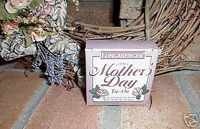 Longaberger Pottery 1995 Mothers Day Basket Tie On  Rose New In  Box  Authentic