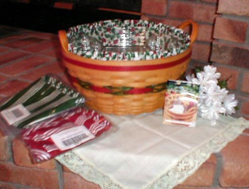Longaberger 1999 Holiday Hostess Pinecone Basket Green Stripe Fabric Liner New image 2