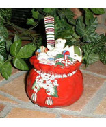 Longaberger Hand Painted Santa Bag Dip Bowl & Spreader Set New In Box Vi... - $15.79