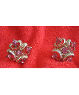 Vintage Clip Earrings Pink Rhinestones Gold Plated - $12.96