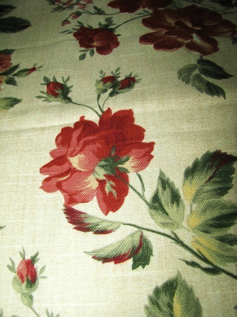Richloom Cotton Fabric Beige Barkscloth Design Rose