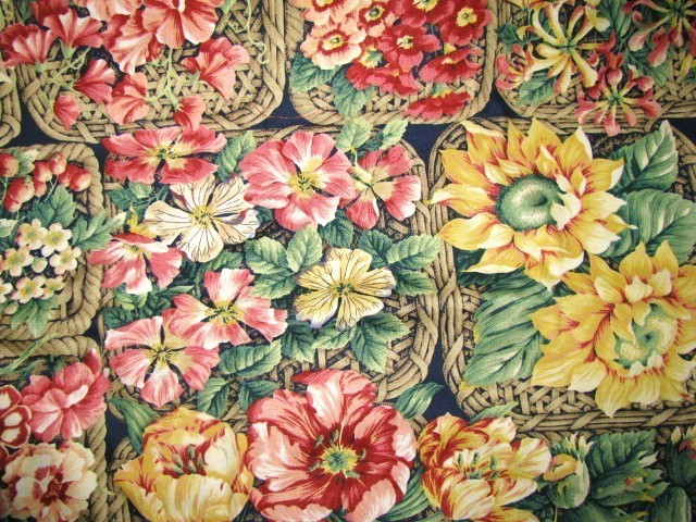 Kaufman Colorful Flowers in Baskets Deco Fabric 2 yd