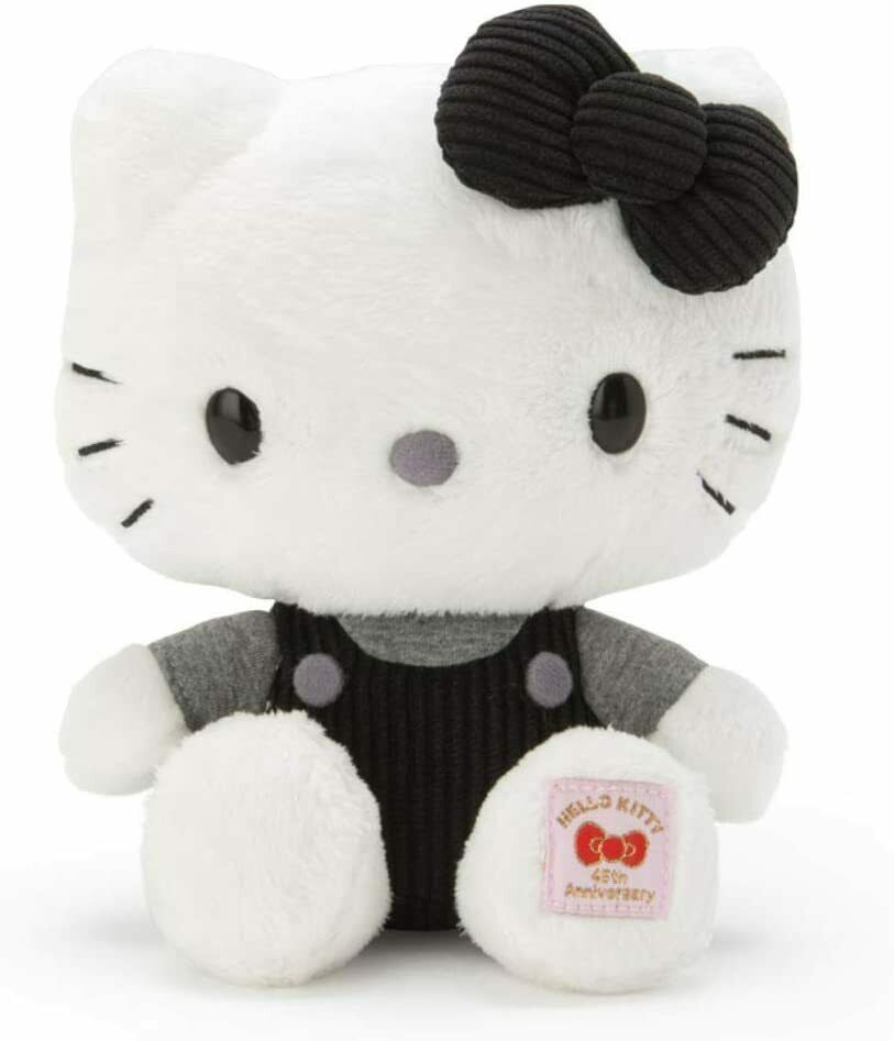 Sanrio Hello Kitty Happy 45th Anniversary Memorial Plush Doll Monotone New - $72.42