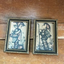 Vintage Pair of Made in Western Germany Signed Mini Hummel Prints in Gilt & - $12.58