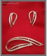 Sarah Coventry Silver Abstract Leaf Brooch/Pin & Clip Earrings Set - $29.70