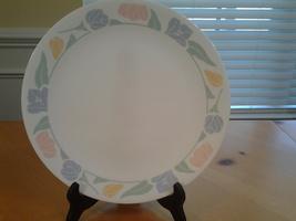 """Corelle White Friendship Dinner Plate 10.25"""" diam Rimmed  Pastel Flowers... - $4.05"""