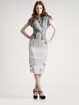 NEW NINA RICCI Paris pencil skirt 42 10 satin with cutouts $1,390 silver runway - $328.83