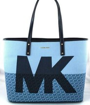 AUTHENTIC NEW NWT MICHAEL KORS $228 CARTER DENIM BLUE TOTE - $138.00