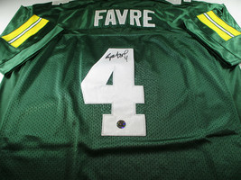 BRETT FAVRE / HALL OF FAME / AUTOGRAPHED PACKERS THROWBACK JERSEY / FAVRE HOLO image 1