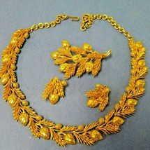 """Pine Branch Brooch Vintage 1980s Career Casual Pin,Clip Earrings & 16"""" Necklace - $64.34"""