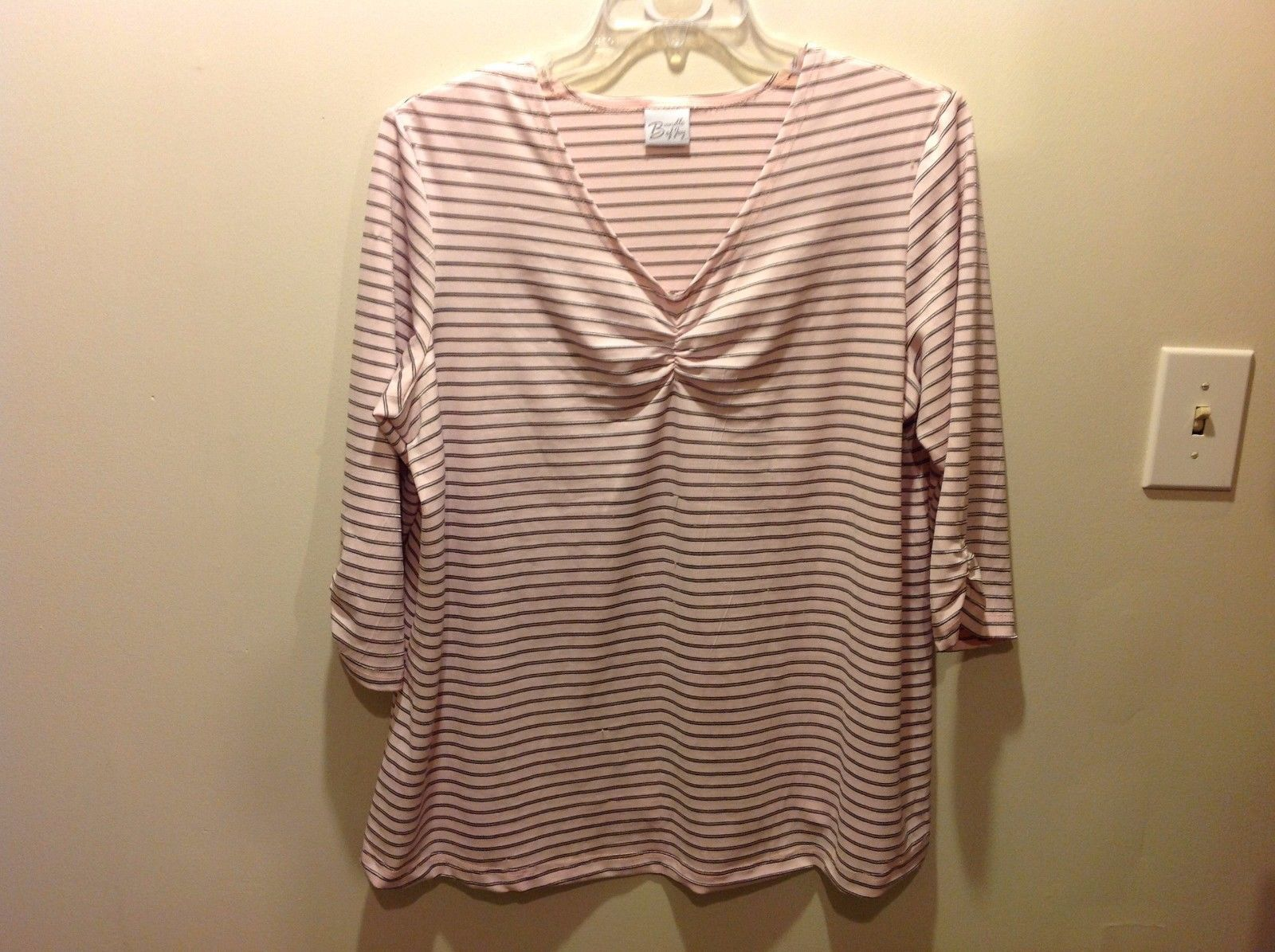 Bundle Of Joy Textured Pale Pink Horizontally Striped 3/4 Sleeve V-Neck Top