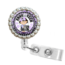 Purple Little Girl X-Ray Tech Retractable Reel ID Name Tag Badge Holder ... - $10.00