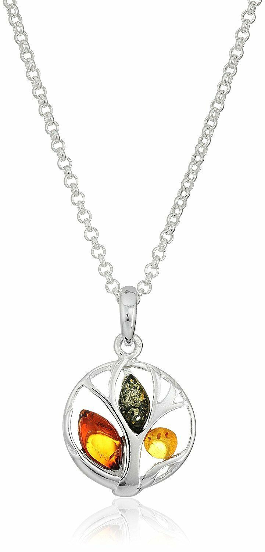 "18"" Amazon Col. Multicolor Amber Sterling Silver Tree Pendant Chain Necklace NWT"